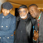 DJ Spooky + Corey Baker, and Ali Hossaini with Melvin Van Peebles after the Coup de Foudre concert at The Guggenheim Museum, 10/10/2010